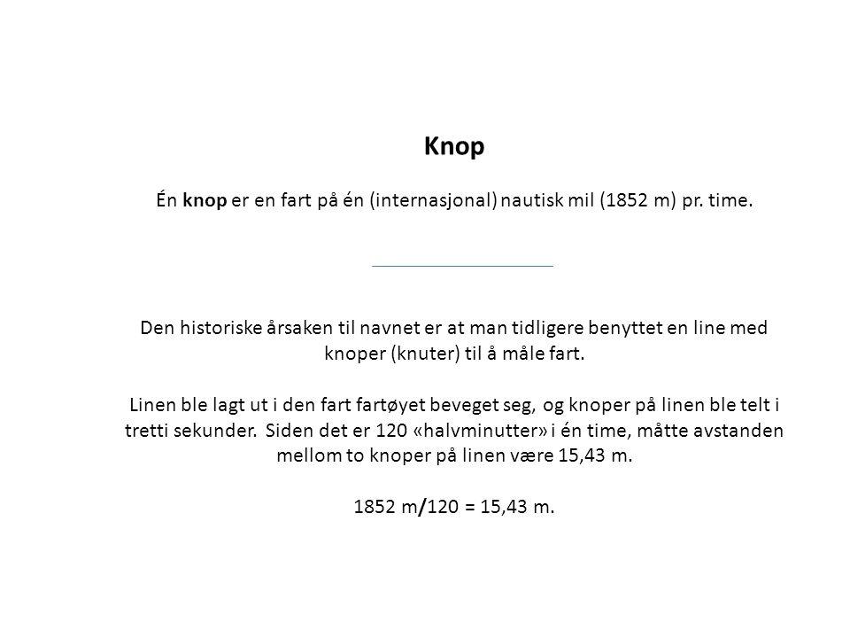Knop Én knop er en fart på én (internasjonal) nautisk mil (1852 m) pr. time.
