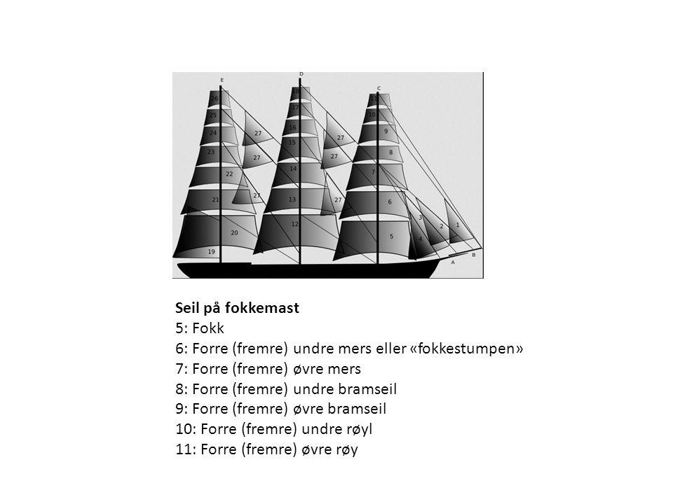Seil på fokkemast 5: Fokk. 6: Forre (fremre) undre mers eller «fokkestumpen» 7: Forre (fremre) øvre mers.