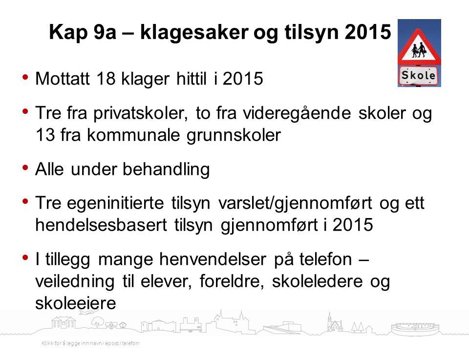Kap 9a – klagesaker og tilsyn 2015