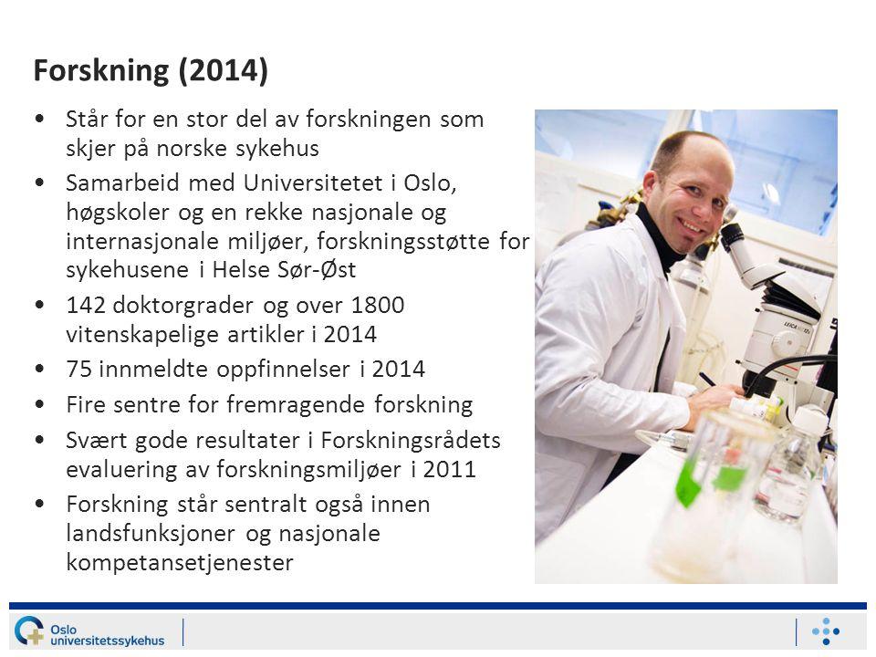 Forskning (2014) Står for en stor del av forskningen som skjer på norske sykehus.
