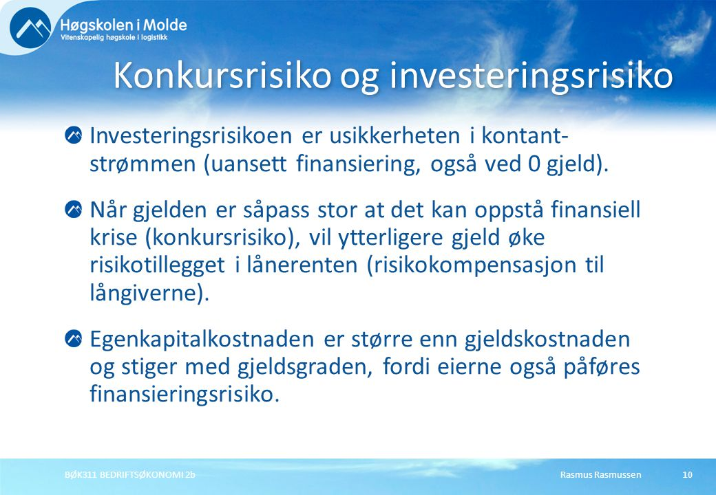 Konkursrisiko og investeringsrisiko