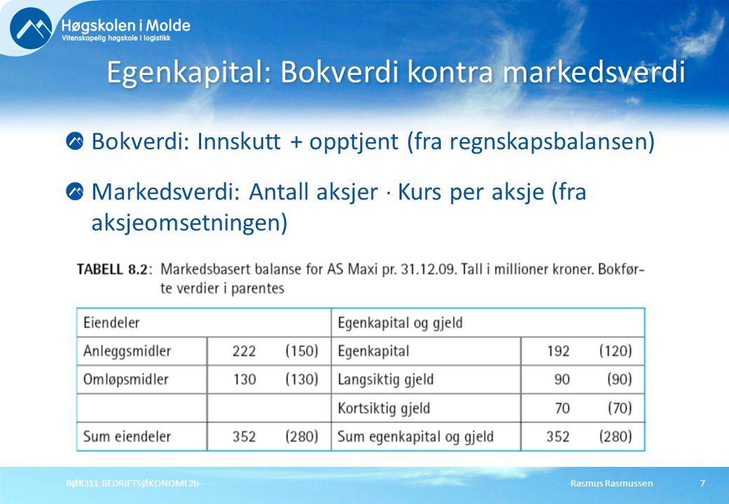 Egenkapital: Bokverdi kontra markedsverdi