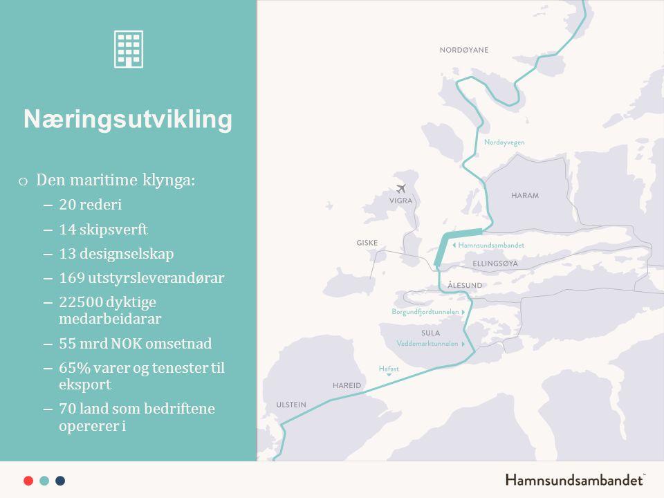 Næringsutvikling Den maritime klynga: 20 rederi 14 skipsverft