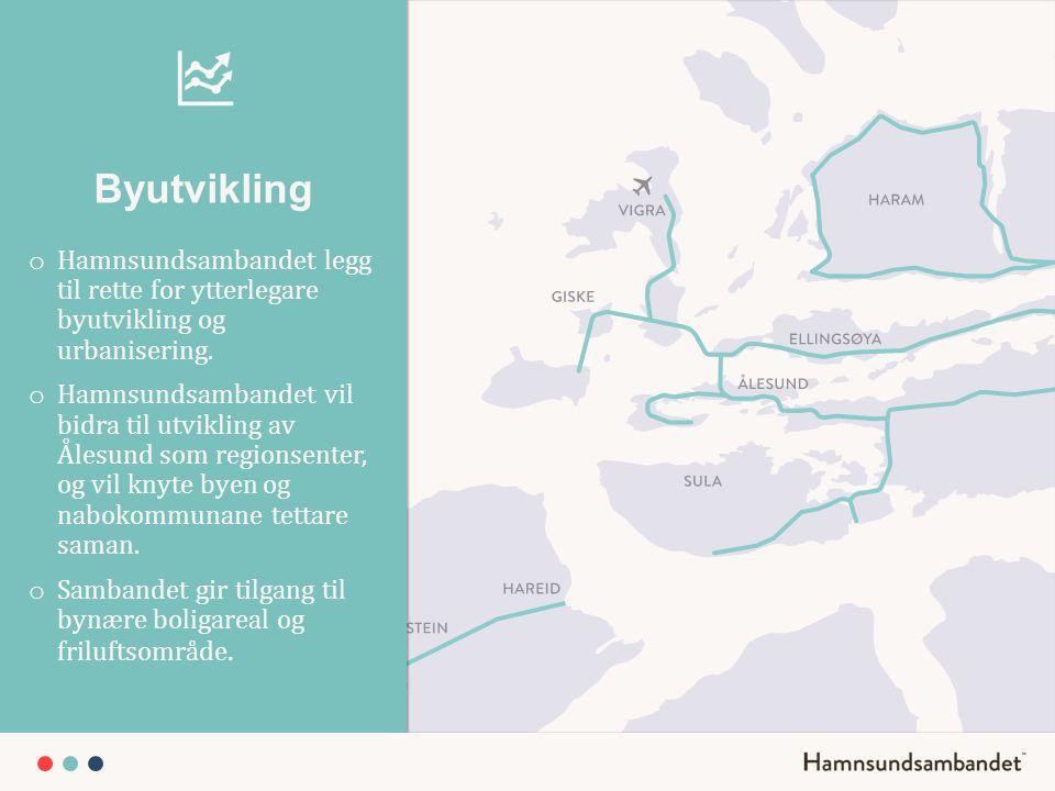 Byutvikling Hamnsundsambandet legg til rette for ytterlegare byutvikling og urbanisering.