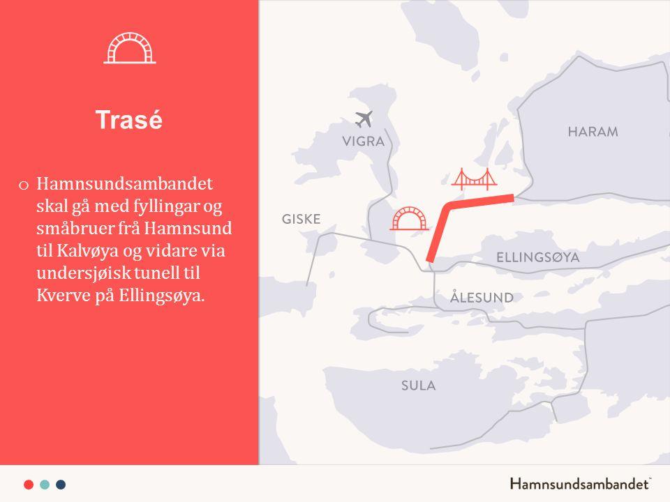 Trasé Hamnsundsambandet skal gå med fyllingar og småbruer frå Hamnsund til Kalvøya og vidare via undersjøisk tunell til Kverve på Ellingsøya.