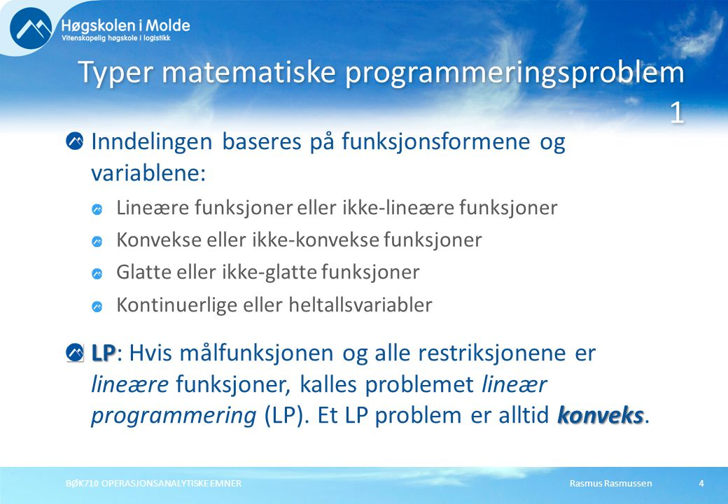Typer matematiske programmeringsproblem 1