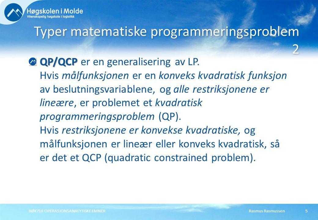 Typer matematiske programmeringsproblem 2