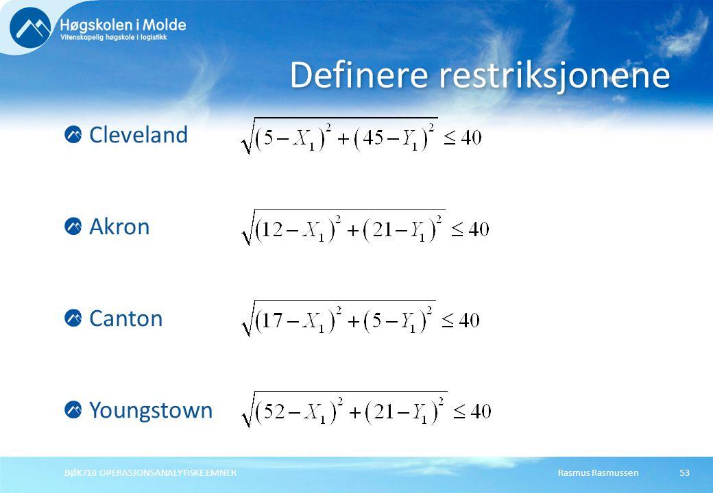 Definere restriksjonene