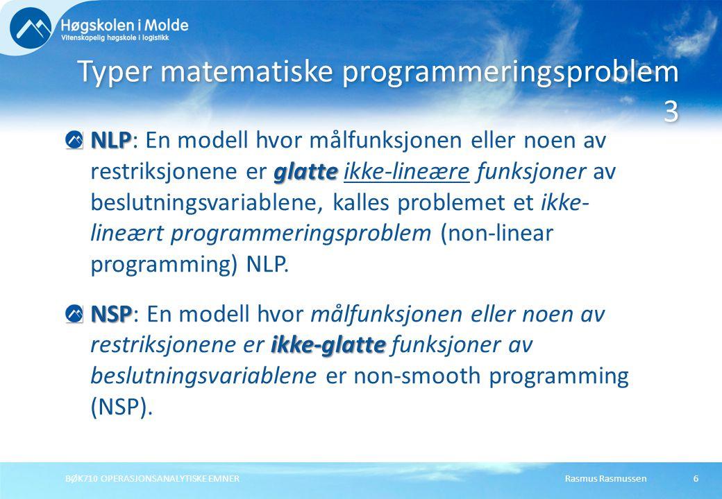 Typer matematiske programmeringsproblem 3