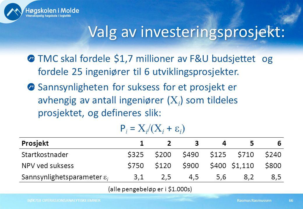 Valg av investeringsprosjekt: