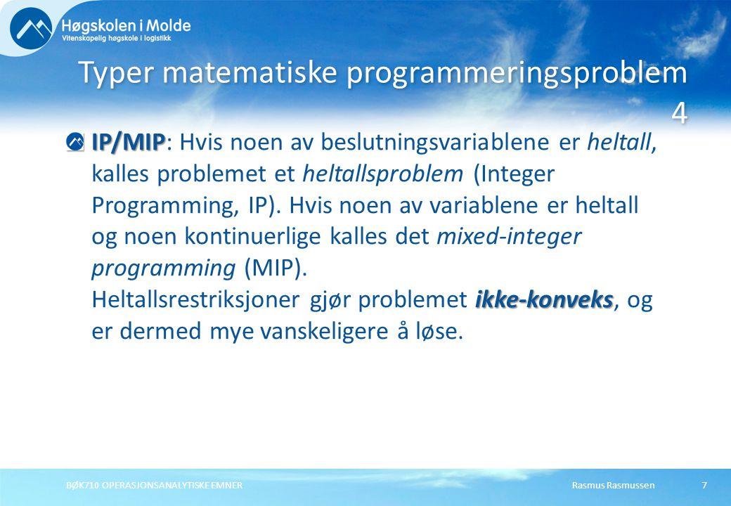 Typer matematiske programmeringsproblem 4