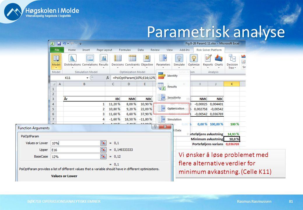 Parametrisk analyse Vi ønsker å løse problemet med flere alternative verdier for minimum avkastning. (Celle K11)