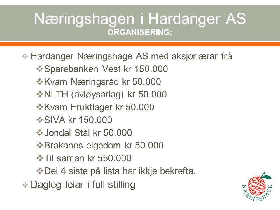 Næringshagen i Hardanger AS ORGANISERING: