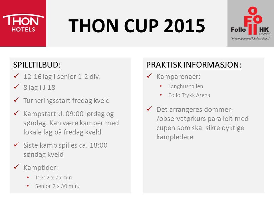 THON CUP 2015 SPILLTILBUD: PRAKTISK INFORMASJON: