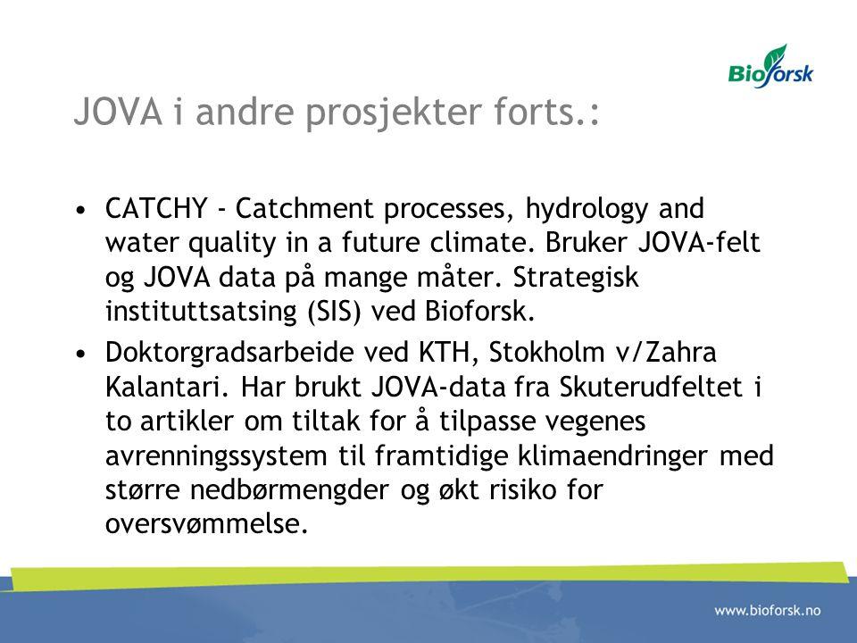 JOVA i andre prosjekter forts.: