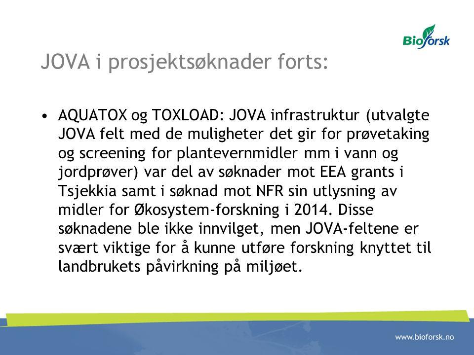 JOVA i prosjektsøknader forts: