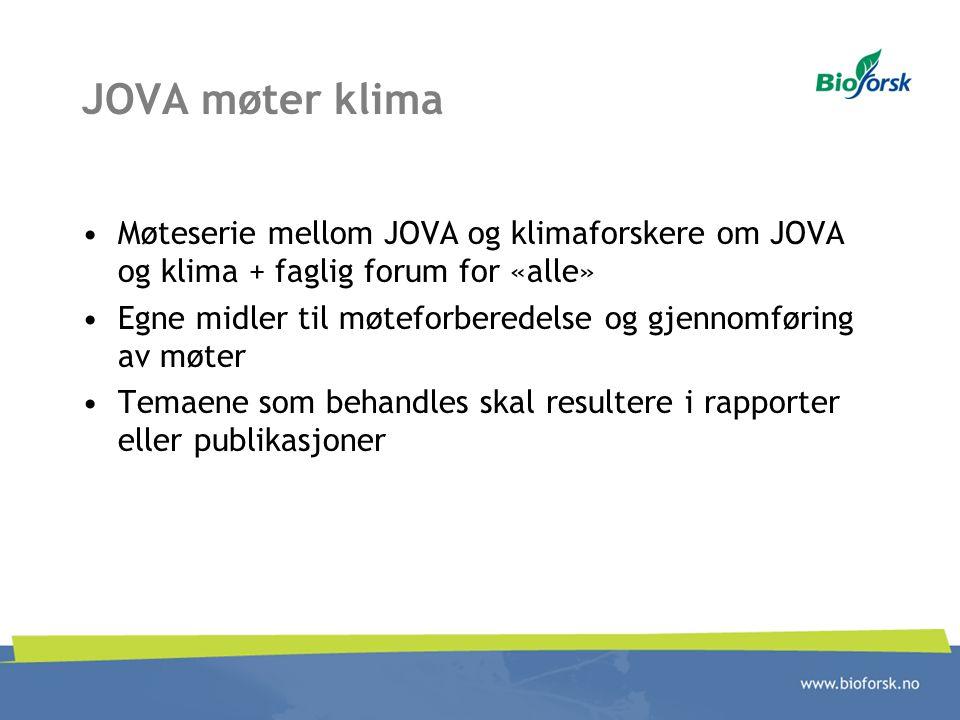 JOVA møter klima Møteserie mellom JOVA og klimaforskere om JOVA og klima + faglig forum for «alle»