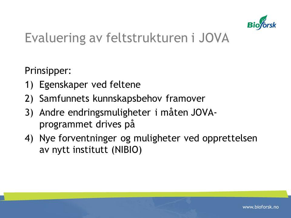 Evaluering av feltstrukturen i JOVA
