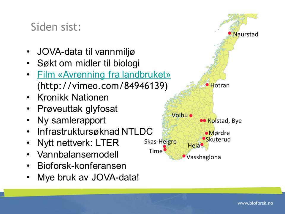 Siden sist: JOVA-data til vannmiljø Søkt om midler til biologi