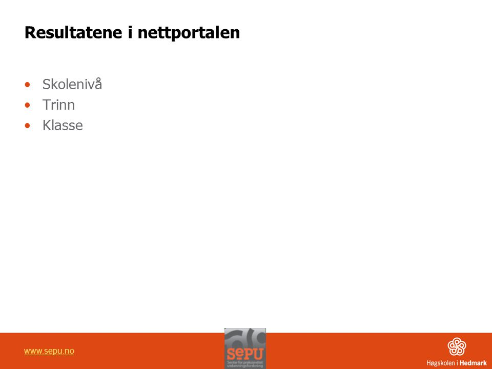Resultatene i nettportalen