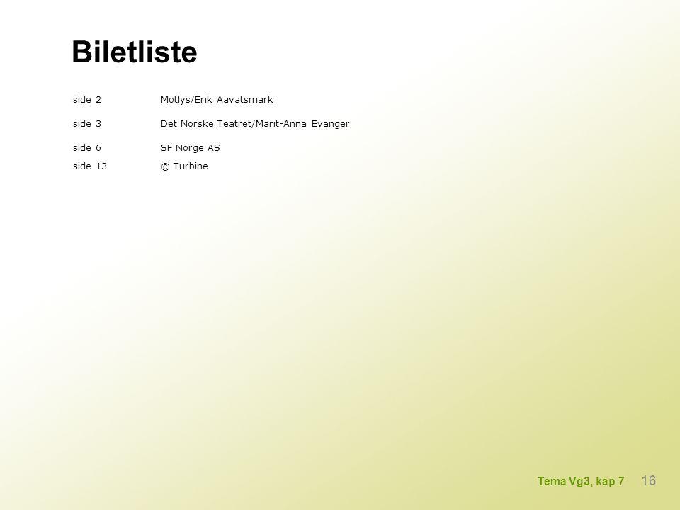 Biletliste 16 Tema Vg3, kap 7 side 2 Motlys/Erik Aavatsmark side 3
