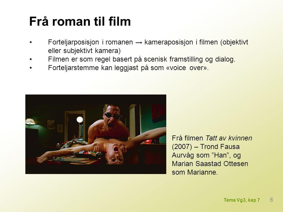 Frå roman til film • Forteljarposisjon i romanen → kameraposisjon i filmen (objektivt eller subjektivt kamera)