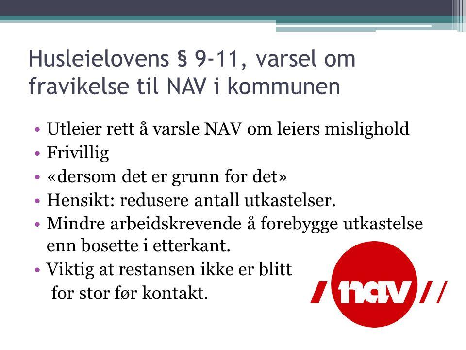 Husleielovens § 9-11, varsel om fravikelse til NAV i kommunen