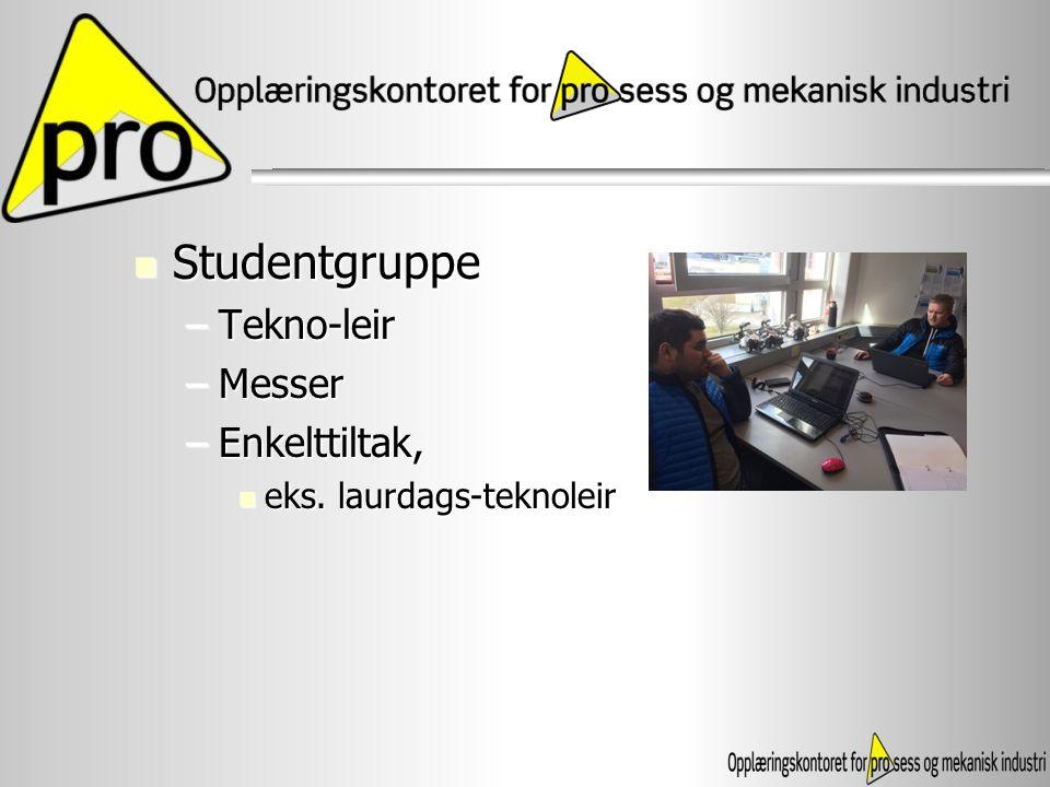 Studentgruppe Tekno-leir Messer Enkelttiltak, eks. laurdags-teknoleir