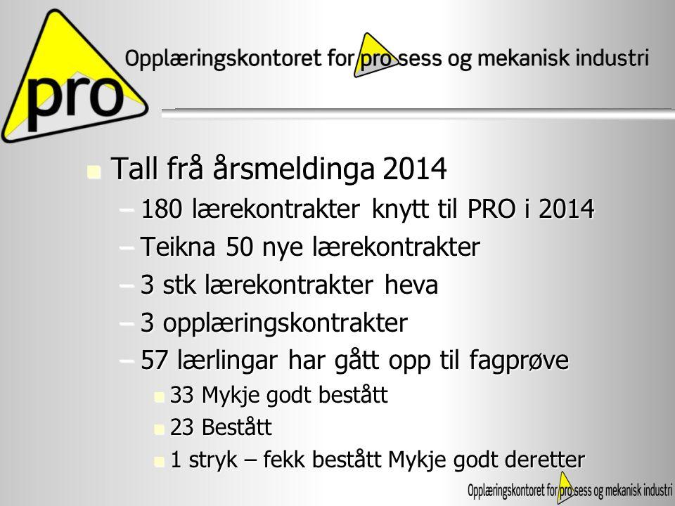 Tall frå årsmeldinga 2014 180 lærekontrakter knytt til PRO i 2014