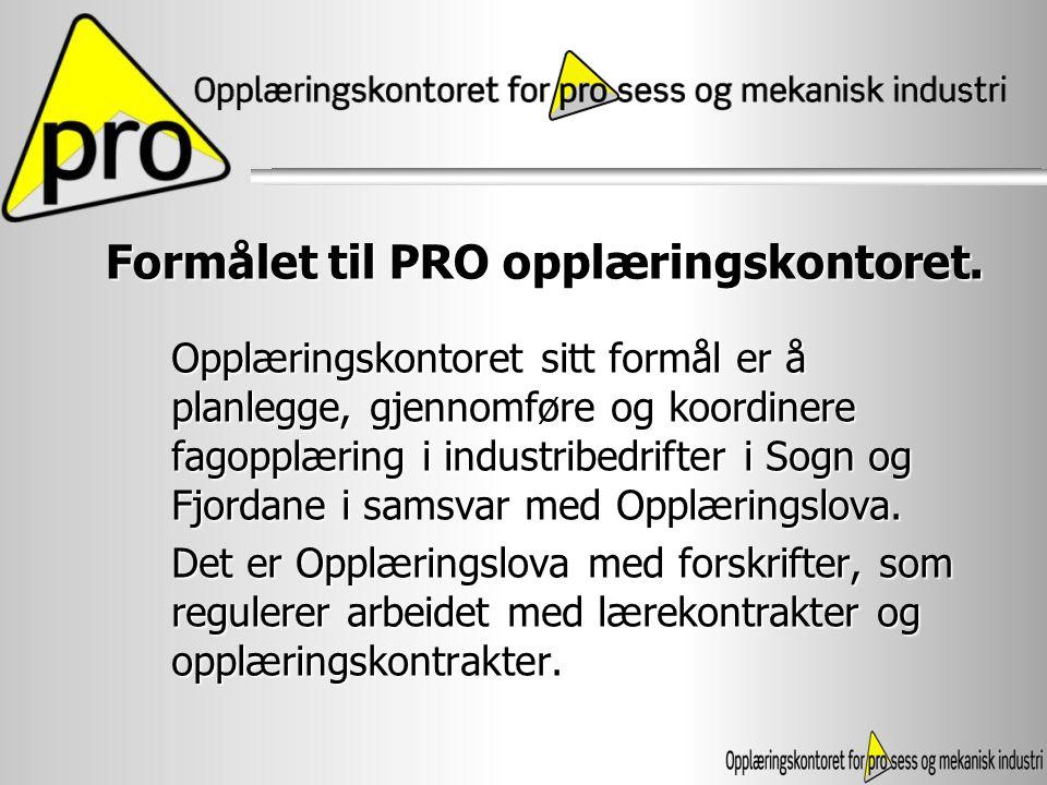 Formålet til PRO opplæringskontoret.
