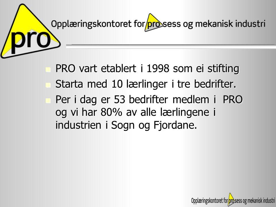 PRO vart etablert i 1998 som ei stifting
