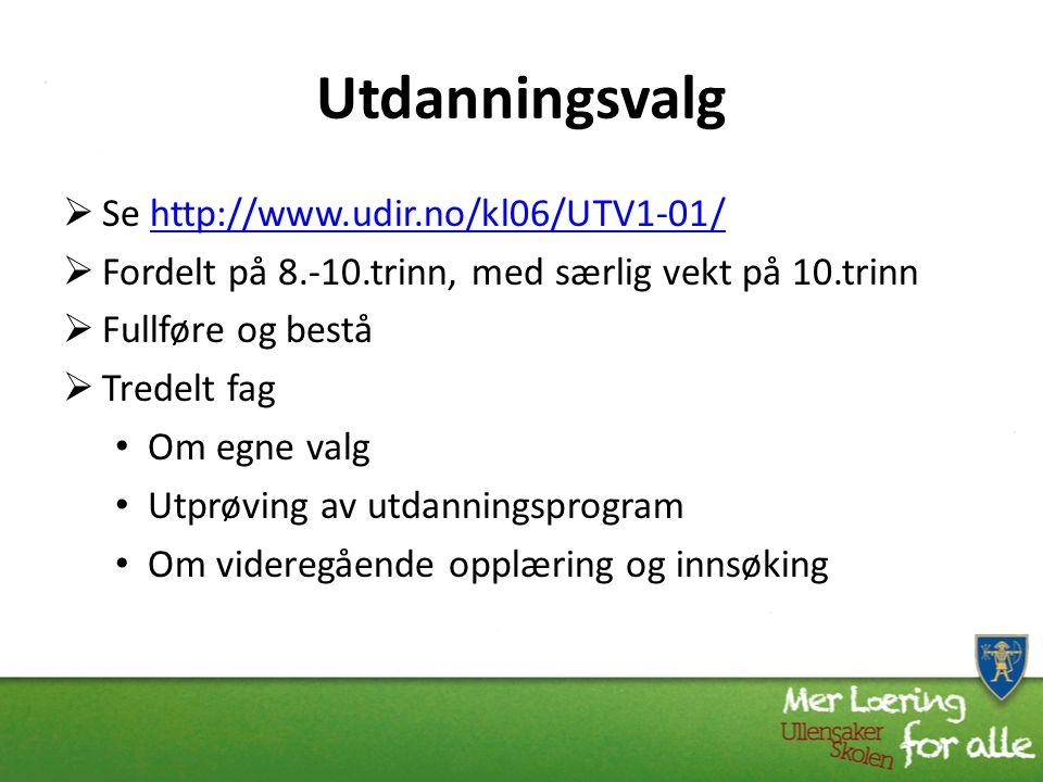 Utdanningsvalg Se http://www.udir.no/kl06/UTV1-01/
