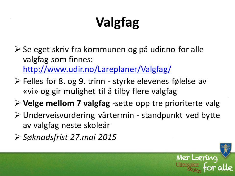 Valgfag Se eget skriv fra kommunen og på udir.no for alle valgfag som finnes: http://www.udir.no/Lareplaner/Valgfag/