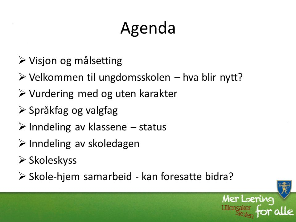 Agenda Visjon og målsetting