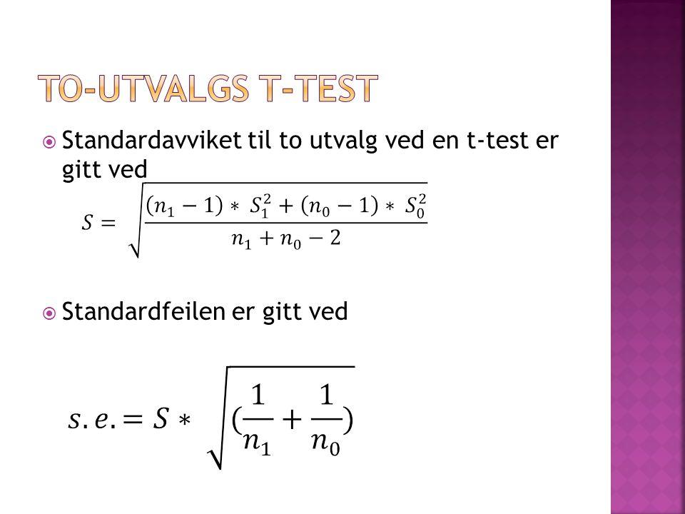 to-utvalgs t-test Standardavviket til to utvalg ved en t-test er gitt ved.