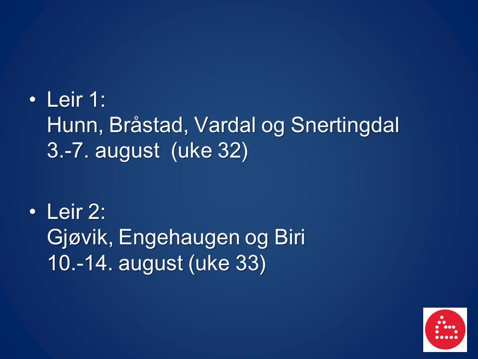 Leir 1: Hunn, Bråstad, Vardal og Snertingdal 3.-7. august (uke 32)