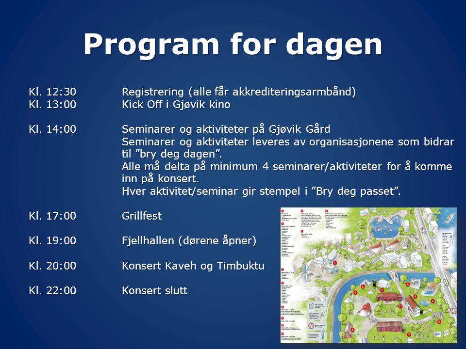 Program for dagen Kl. 12:30 Registrering (alle får akkrediteringsarmbånd) Kl. 13:00 Kick Off i Gjøvik kino.