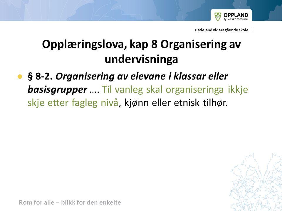 Opplæringslova, kap 8 Organisering av undervisninga