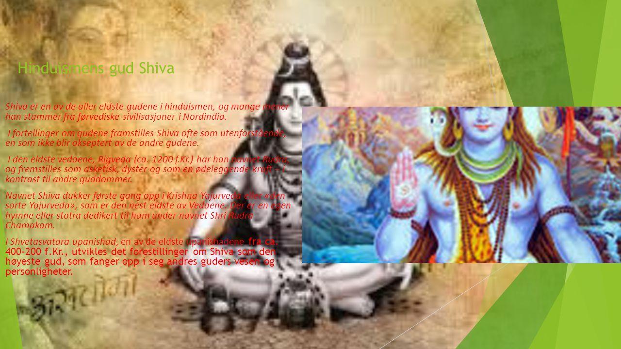 Hinduismens gud Shiva Shiva er en av de aller eldste gudene i hinduismen, og mange mener han stammer fra førvediske sivilisasjoner i Nordindia.