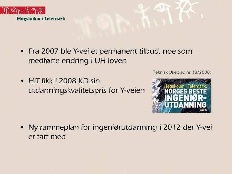 HiT fikk i 2008 KD sin utdanningskvalitetspris for Y-veien