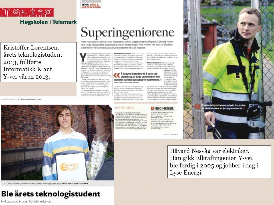 Kristoffer Lorentsen, årets teknologistudent 2013, fullførte Informatikk & aut. Y-vei våren 2013.