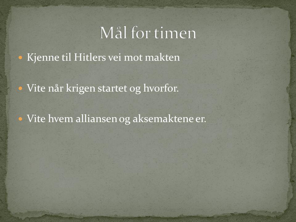 Mål for timen Kjenne til Hitlers vei mot makten