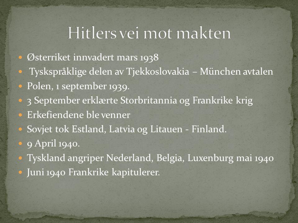Hitlers vei mot makten Østerriket innvadert mars 1938