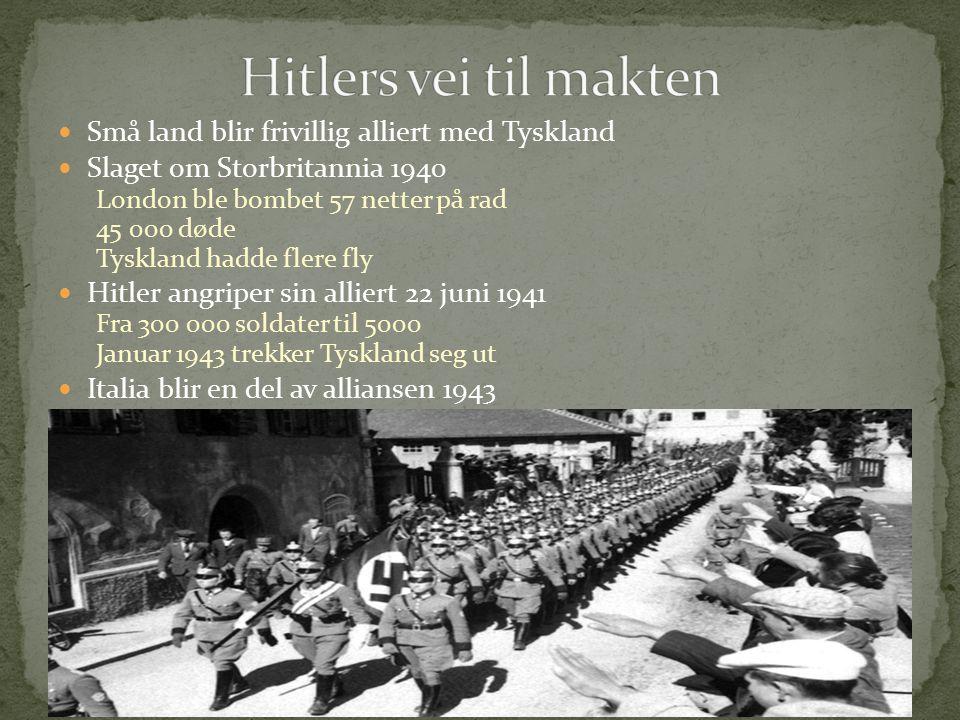 Hitlers vei til makten Små land blir frivillig alliert med Tyskland