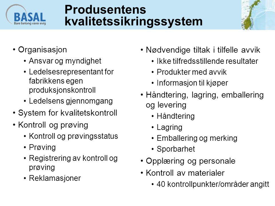 Produsentens kvalitetssikringssystem