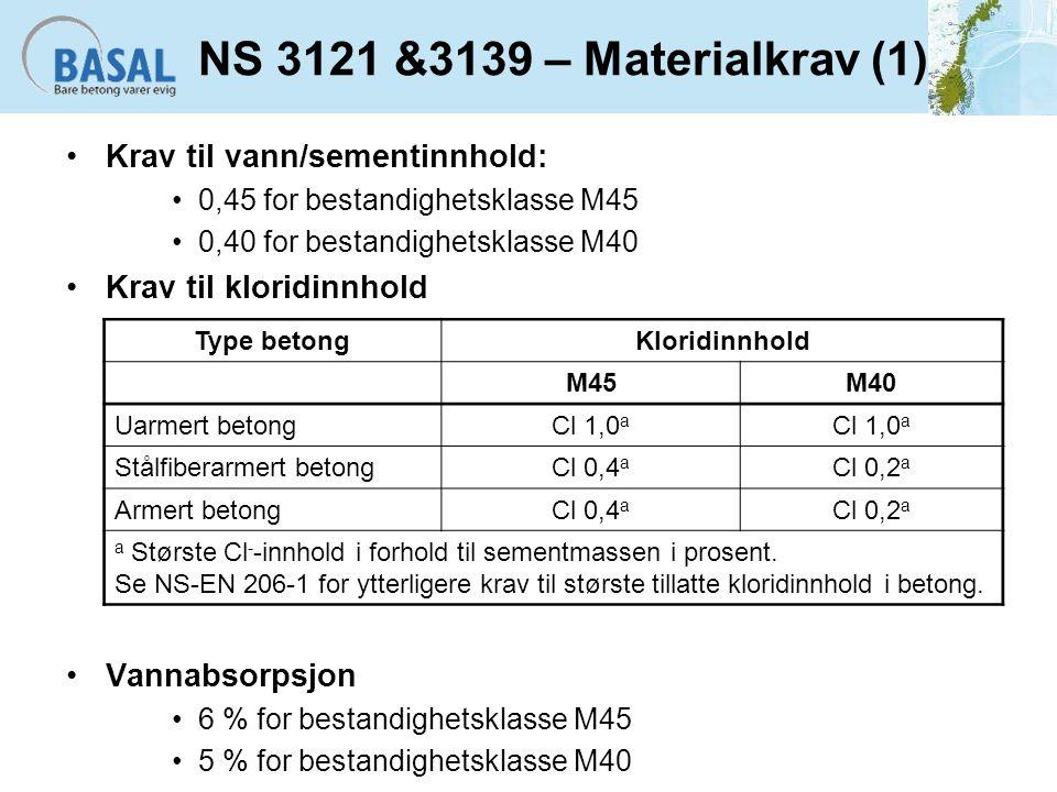 NS 3121 &3139 – Materialkrav (1) Krav til vann/sementinnhold:
