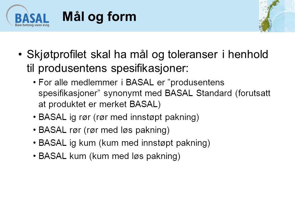 Mål og form Skjøtprofilet skal ha mål og toleranser i henhold til produsentens spesifikasjoner: