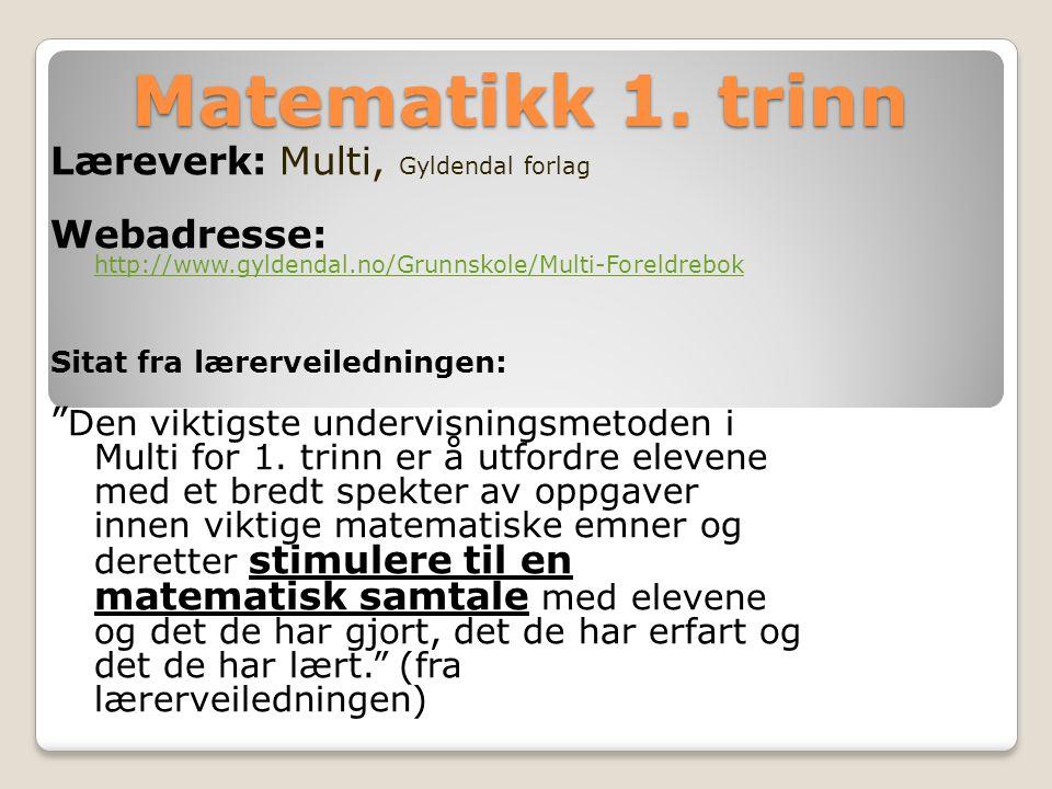 Matematikk 1. trinn Læreverk: Multi, Gyldendal forlag