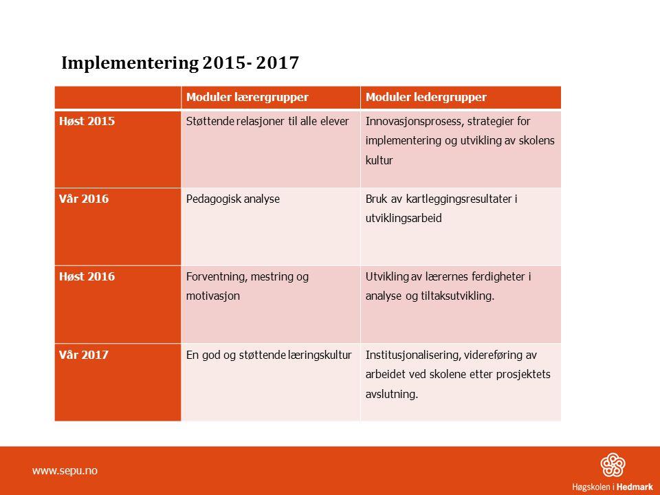Implementering 2015- 2017 Moduler lærergrupper Moduler ledergrupper