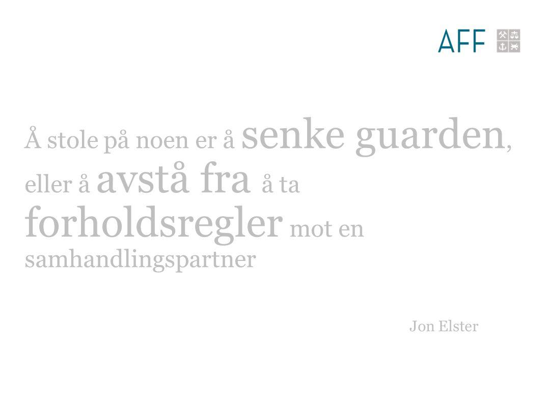 Å stole på noen er å senke guarden, eller å avstå fra å ta forholdsregler mot en samhandlingspartner Jon Elster